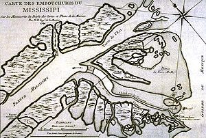 La Balize, Louisiana - 1744 French map of the Mississippi Delta East Pass, showing Fort de la Balize on the lower right