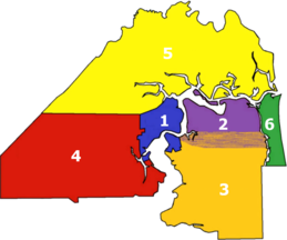 Approximation of the vernacular areas of Jacksonville:    1. Urban core – city limits before Consolidation   2. Arlington   3. Southside   4. Westside   5. Northside   6. Beaches