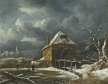 painting of watermill in winter landscape