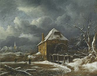 Two Watermills and an Open Sluice near Singraven - Image: Jacob van Ruisdael Winter Landscape with a Watermill