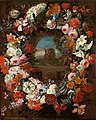Jan Baptist Bosschaert - A garland of flowers surrounding a cartouche with landscape view and a vase on a balustrade.jpg