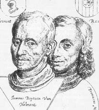 Jan Baptist van Helmont - Jan Baptist van Helmont (left) and his son Franciscus-Mercurius from the Ortus medicinae (1648)