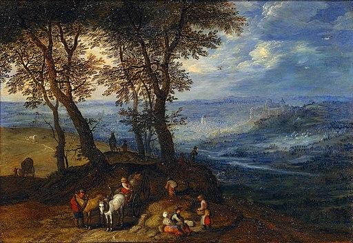 Jan Brueghel de Oude - Landschap met boeren gaan naar een markt