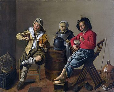 Jan Miense Molenaer - Two Boys and a Girl Making Music