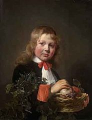 Portrait of a Boy holding a Basket of Fruit