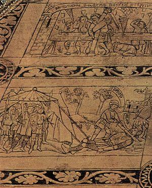 Annunciation (van Eyck, Washington) - Floor tiles: David slaying Goliath in front, Samson pulling down the Philistines' Temple behind