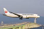 Japan Air Lines, JL69, Boeing 787-8 Dreamliner, JA831J, Arrived from Los Angeles, Kansai Airport (17011256079).jpg