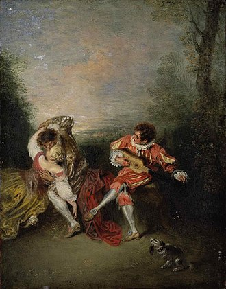 1718 in art - Image: Jean Antoine Watteau La Surprise, oil on panel