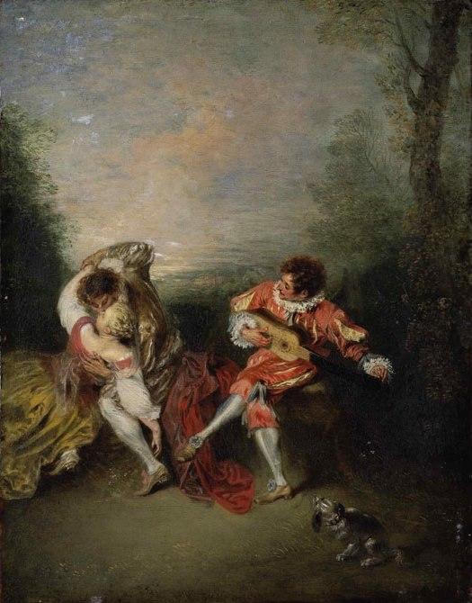 Jean-Antoine Watteau La Surprise, oil on panel