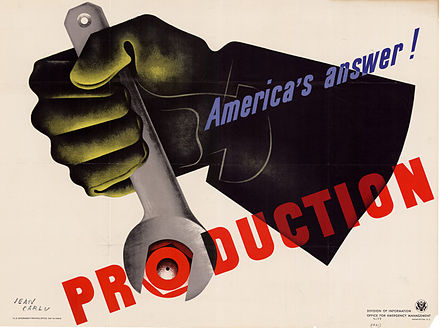 1942 patriotic war poster by Jean Carlu for the U.S. Government JeanCarluProduction.jpg