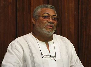 Former president of Ghana Jerry Rawlings, spea...