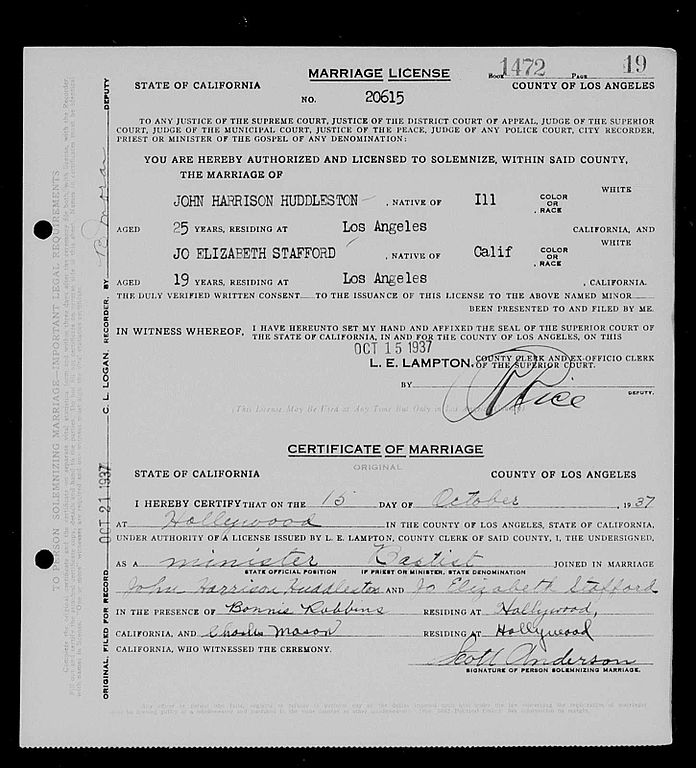 File:Jo Stafford First marriage license JPG - Wikimedia Commons