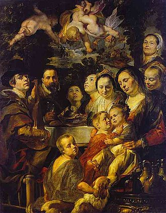 Jacob Jordaens - Self-Portrait with Parents, Brothers, and Sisters (c. 1615).  Oil on canvas. The Hermitage, St. Petersburg, Russia