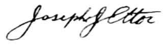 Joseph James Ettor - Signature of Ettor, ca. 1913.