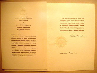 Letter of credence - Letter of credence for the Czechoslovak Ambassador to Lithuania, written in the traditional French and signed by President Václav Havel