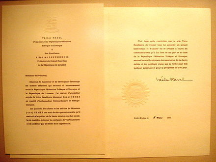 A 1992 Letter of Credence, written in French, for the Czechoslovakian Ambassador to Lithuania, signed by the President of Czechoslovakia and addressed to his Lithuanian counterpart Juraj Nemes letter of credence.JPG