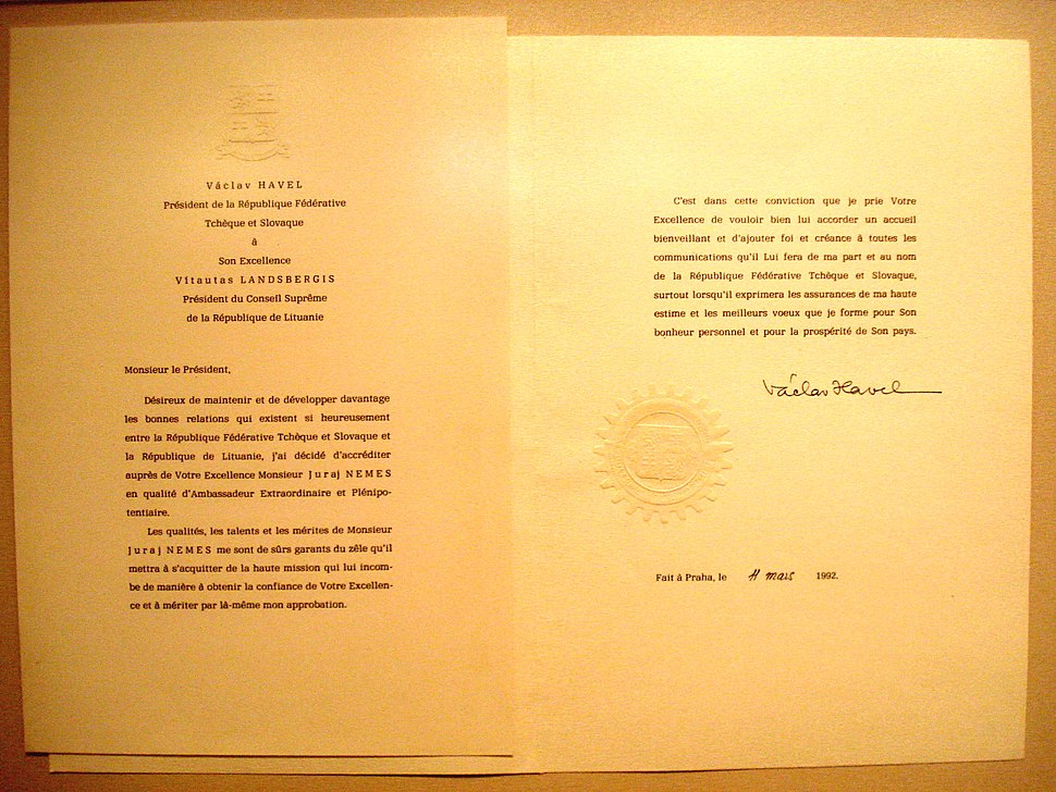 Juraj Neme%C5%A1 letter of credence