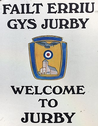 Jurby - Jurby Parish sign, illustrating the close ties between the parish and the Royal Air Force