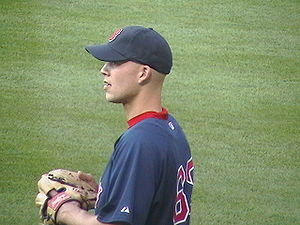 Justin Masterson - Masterson during his first tenure with the Boston Red Sox in 2008.