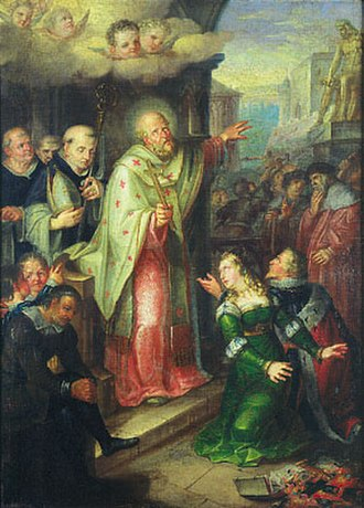 Christianization of Bohemia - The Baptism of Duke Bořivoj, a historical painting by Václav Ignác Leopold Markovský