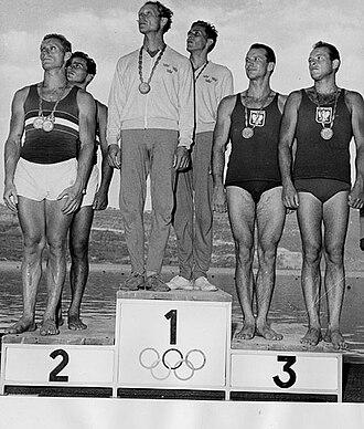 Canoeing at the 1960 Summer Olympics - Men's K-2 1000 metres medalist at the 1960 Summer Olympics. 1st: Sweden with Gert Fredriksson and Sven-Olov Sjödelius. 2nd: Hungary with András Szente and György Mészáros. 3rd: Poland with Stefan Kapłaniak and Władysław Zieliński.