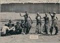 KITLV - 10835 - Kurkdjian - Soerabaja - Dancers dressed as boys with a clown of Madura at the pasar malam in Surabaya - 1905-1906.tif