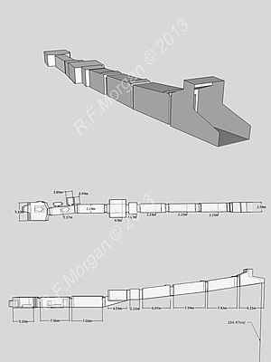 KV13 - Isometric, plan and elevation images of KV13 taken from a 3d model