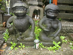 Kappa (folklore) - A paired male and female kappa statues at the Sogenji Buddhist shrine at the Asakusa district in Tokyo.