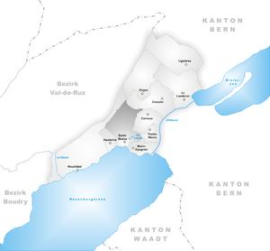 Saint-Blaise, Switzerland - Image: Karte Gemeinde Saint Blaise