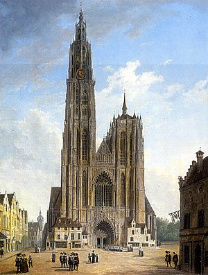 John Bull (composer) - Antwerp Cathedral, painted c. 1820 by Domenico Quaglio the Younger. Bull worked as organist of the cathedral from 1615 until his death.