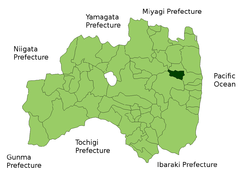 Location of Katsurao in Fukushima