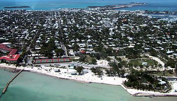 Aerial photo of downtown Key West, looking nor...