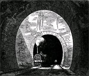 Kilsby Tunnel - Air shaft in the Kilsby Tunnel, illustrated in an 1852 railway publication.