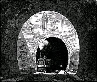 Kilsby Tunnel - Air shaft in the Kilsby Tunnel, illustrated in an 1852 railway publication