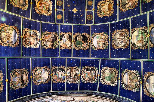 Klępsk - strop prezbiterium z 1613 r. Pozorne sklepienie kolebkowe. Na obrazach historia biblijna.