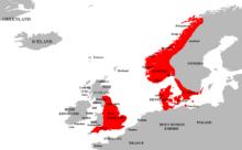 Carte représentant les territoires soumis à Knut le Grand