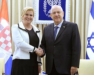 Kolinda Grabar-Kitarović - President Grabar-Kitarović with Israeli President Reuven Rivlin
