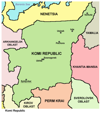 Komi Republic - Map of the Komi Republic