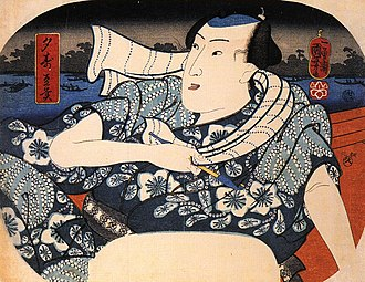 Yukata - Man cools at night with a yukata, ukiyoe (Utagawa Kuniyoshi, late Edo era)