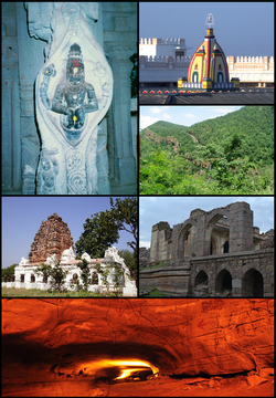 Clockwise from top: Raghavendra Swamy Temple at Mantralayam, Nallamala Hills, Ruined hall in Adoni fort, Belum Caves, Shivanandi temple, Statue of Narasimha at Ahobilam