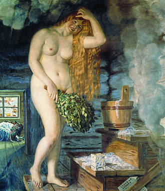 Timeline of Russian innovation - Russian Venus by Boris Kustodiev, shows a girl with birch twigs in a rural banya.
