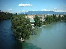 La confluenza del Rodano con l'Arve a Ginevra