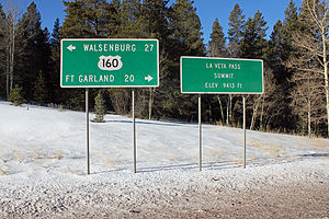 La Veta Pass - Two signs on the south side of the pass.