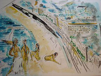 Arnaud Courlet de Vregille - La baie des Anges (1994, Encre acrylique 80 x 60)