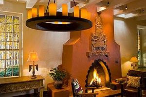 La Fonda on the Plaza - Lounge with fireplace designed by German-American artist Arnold Rönnebeck (1885–1947) in 1927, La Fonda