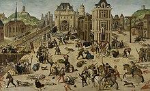 Gemälde des Massakers zum St. Bartholomäus-Tag, der Klosterkirche der Grands-Augustins, der Seine und der Brücke der Müller, in der Mitte der Louvre und Catherine de 'Medici.