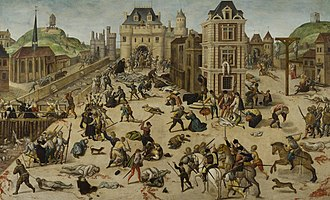 Huguenots - The St. Bartholomew's Day massacre of French Protestants (1572). It was the climax of the French Wars of Religion, which were brought to an end by the Edict of Nantes (1598). In 1620, persecution was renewed and continued until the French Revolution in 1789.