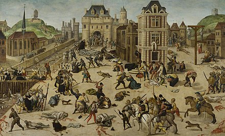 The St. Bartholomew's Day massacre of French Protestants (1572). It was the climax of the French Wars of Religion, which were brought to an end by the Edict of Nantes (1598). In 1620, persecution was renewed and continued until the French Revolution in 1789. La masacre de San Bartolome, por Francois Dubois.jpg