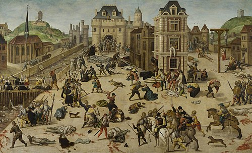 The St. Bartholomew's Day massacre of French Protestants in 1572 La masacre de San Bartolome, por Francois Dubois.jpg