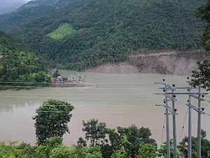 2014 Sunkoshi blockage - Lake formed by Sunkoshi blockage